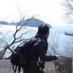 自転車に乗って塩飽本島(しわくほんじま)を取材しています