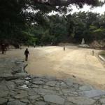 沙弥島・白石古墳は林のなかにあります。